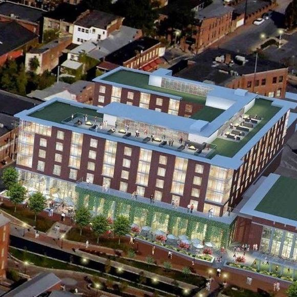 Aerial nighttime rendering of the proposed Marriott at Carroll Creek